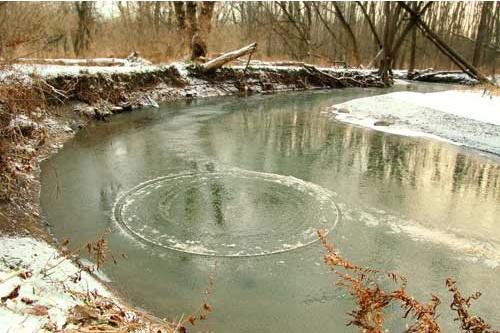 Disques en rotation sur des rivières gelées